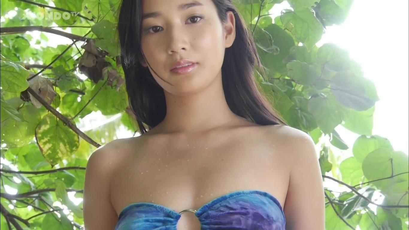 【高嶋香帆】Fカップ 清楚なルックスの美女の白ビキニと浴衣からの脱ぎ