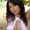 【川村ゆきえ】Eカップ 胸元があいた白ワンピース水着で濡れる