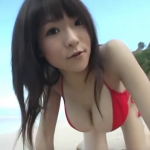 【堀井美月】Iカップ3 紐パンビキニとビーチ