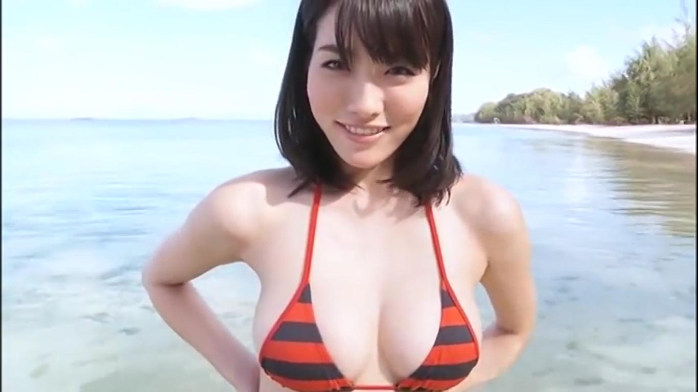 【今野杏南】Fカップ6 ボーダー柄ビキニとビーチ