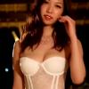 【有田桜花】-カップ 白ランジェリー×ガーターベルト×網タイツ×腰振り