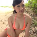 無【森川彩香】Eカップ4 小さめ紐パンビキニ姿×ポニーテール