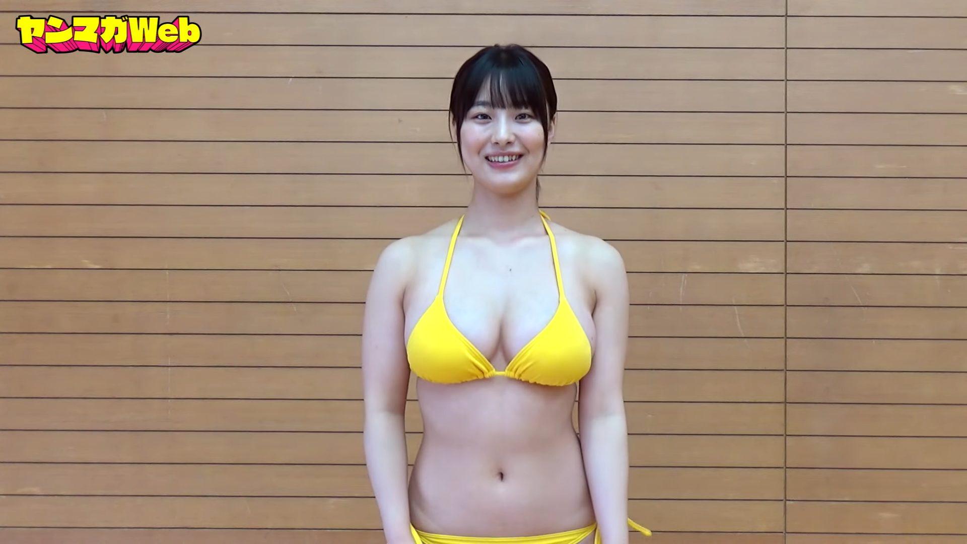 【大間乃トーコ】Hカップ3 ヤンマガWeb!水着姿で跳び箱にチャレンジ!