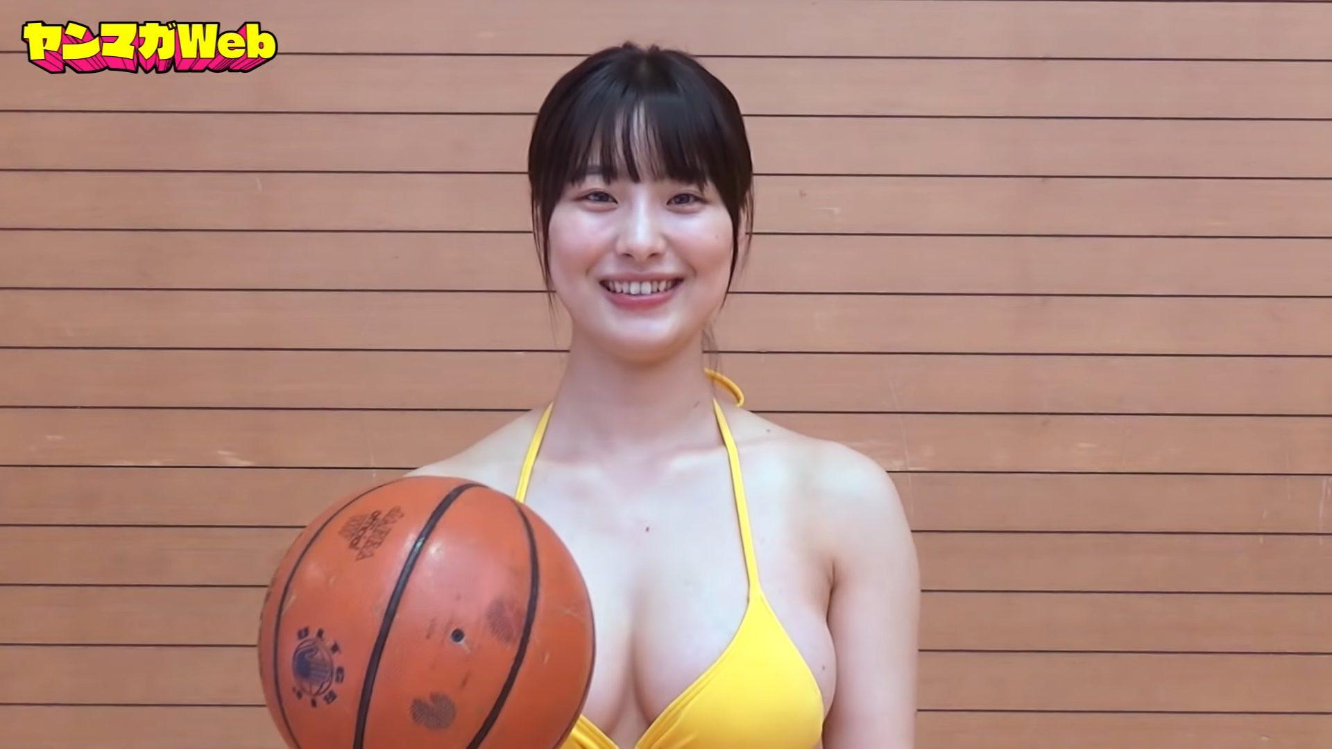 【大間乃トーコ】Hカップ6 ヤンマガWeb!水着でバスケットボール30秒バウンドチャレンジ!