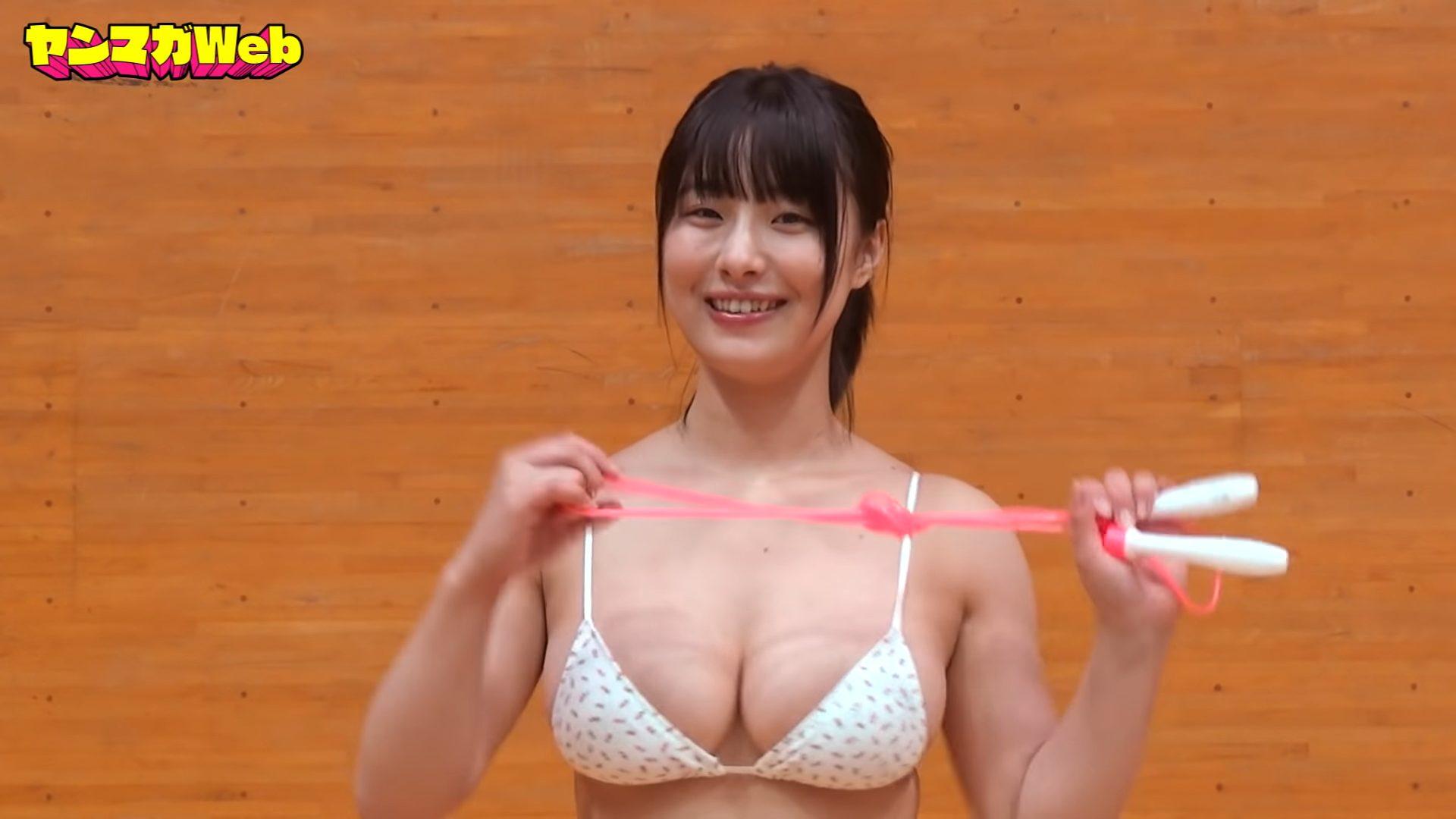【大間乃トーコ】Hカップ5 ヤンマガWeb!水着でかけあし跳びチャレンジ!